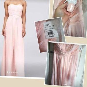 David's Bridal long pink chiffon dress size 14 NWT